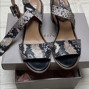 Snakeskin block heels